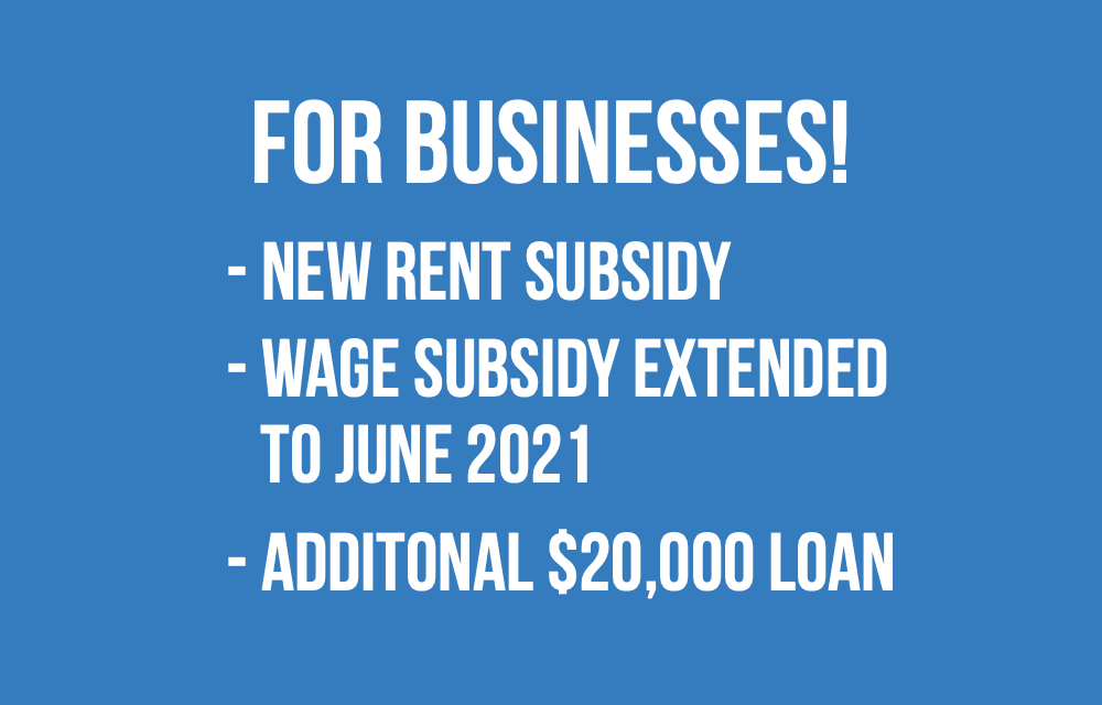 New Canada Emergency Rent Subsidy   Wage Subsidy extended   CEBA additional $20,000 loan